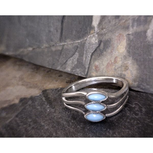 Sterling 3 Stone Wave Turquoise Ring Vulcan's Forge LLC Kansas City, MO