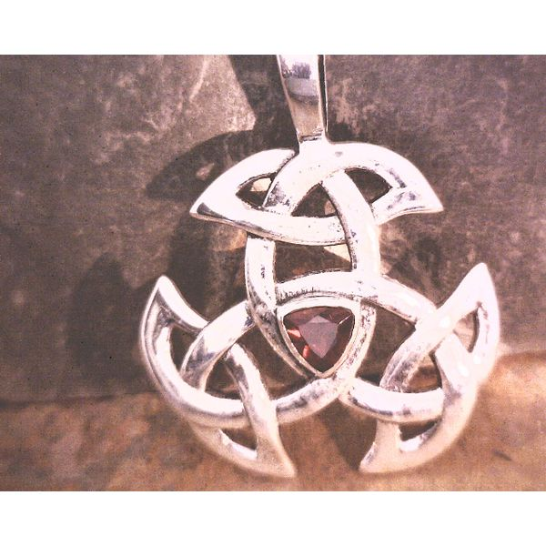 Sterling Celtic Knot with Garnet Vulcan's Forge LLC Kansas City, MO