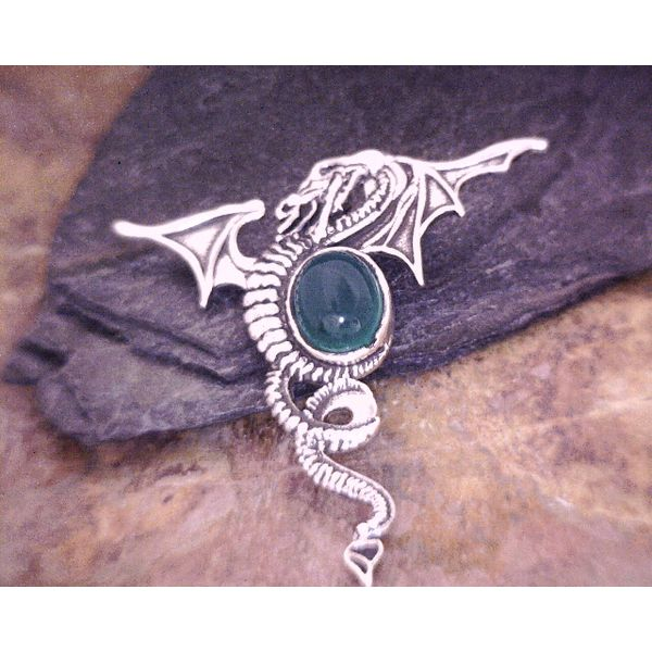 Sterling Dragon Pendant With Green Onyx Vulcan's Forge LLC Kansas City, MO