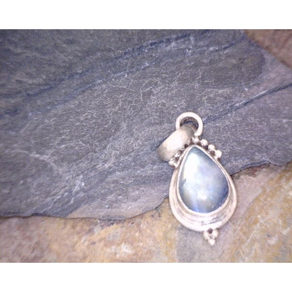 Sterling Tiny/Minimalist Teardrop Moonstone Vulcan's Forge LLC Kansas City, MO