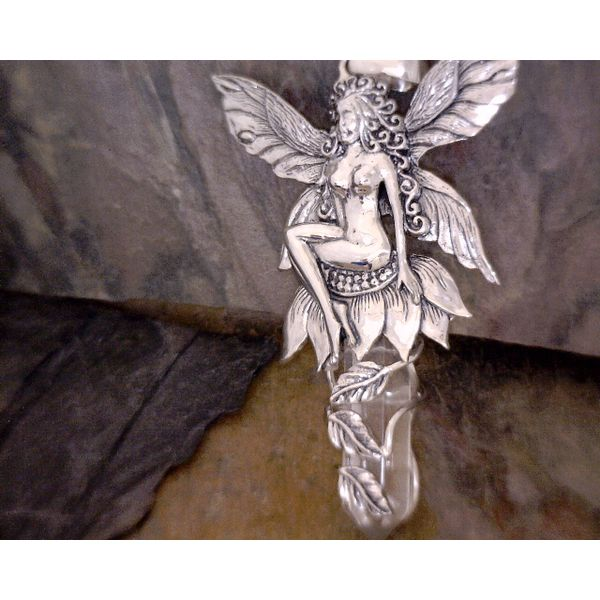 Sterling Detailed Fairy on flower with Quartz Point Vulcan's Forge LLC Kansas City, MO