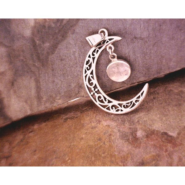 SS Crescent Moon with Filigree and Moon Stone Vulcan's Forge LLC Kansas City, MO