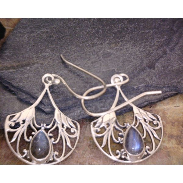 Sterling Deco Style Fan Labradorite Dangles Vulcan's Forge LLC Kansas City, MO