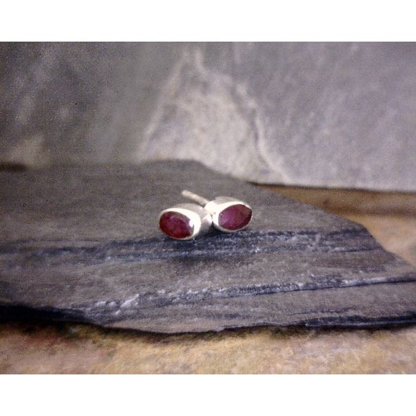 Sterling Created Ruby Oval Studs Vulcan's Forge LLC Kansas City, MO