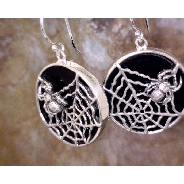 Sterling Spider & Web on Polished Lava Rock Vulcan's Forge LLC Kansas City, MO