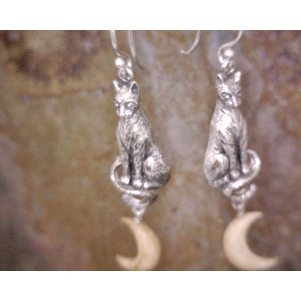 Sterling Cat and Bone Moon Earrings Vulcan's Forge LLC Kansas City, MO