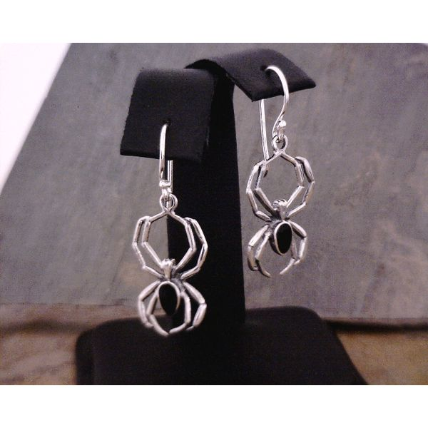 Silver Spider with Black Onyx Inlay Drop Earrings Vulcan's Forge LLC Kansas City, MO