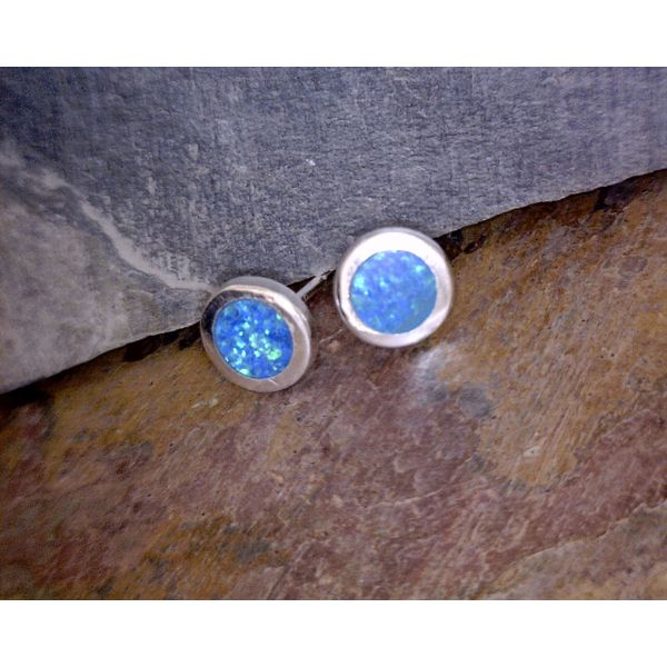 Silver Blue Lab Opal 6mm Round Stud Vulcan's Forge LLC Kansas City, MO