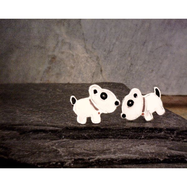 Sterling White Enamel Dog Studs Vulcan's Forge LLC Kansas City, MO