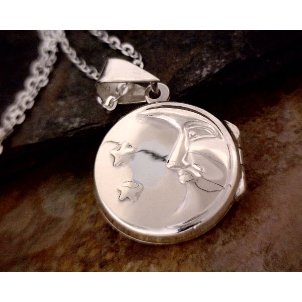 Sterling Round Moon & Stars Locket Vulcan's Forge LLC Kansas City, MO