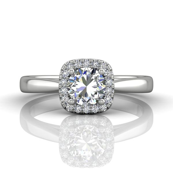 Diamond Cushion Halo Solitaire Engagement Ring by Martin Flyer Wesche Jewelers Melbourne, FL