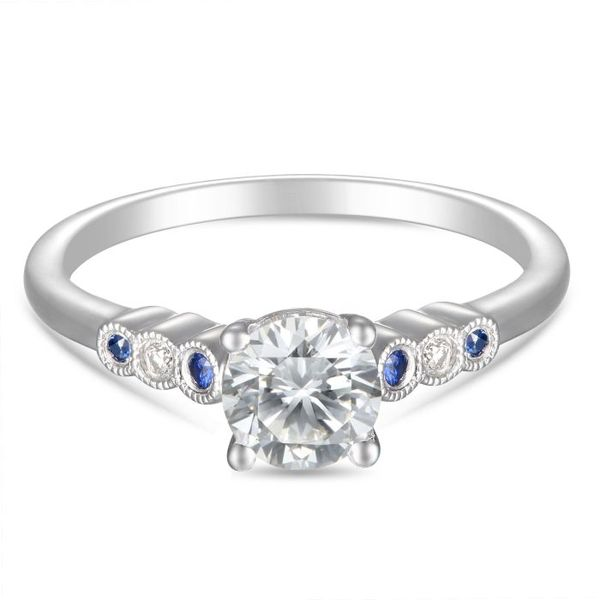 Diamond and Blue Sapphire Engagement Ring by Martin Flyer Wesche Jewelers Melbourne, FL