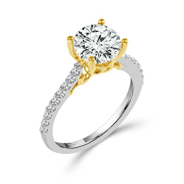 Yellow & White Semi-Mount for a 3/4ct Center Wesche Jewelers Melbourne, FL