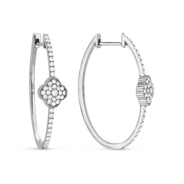 Diamond Hoops with Clover Accent by Madison L Wesche Jewelers Melbourne, FL