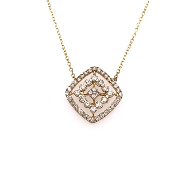 Diamond Pendant with Cushion Shape Station Necklace Wesche Jewelers Melbourne, FL