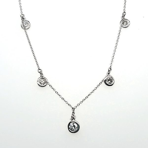 Diamond Round Bezel Drop Necklace Wesche Jewelers Melbourne, FL