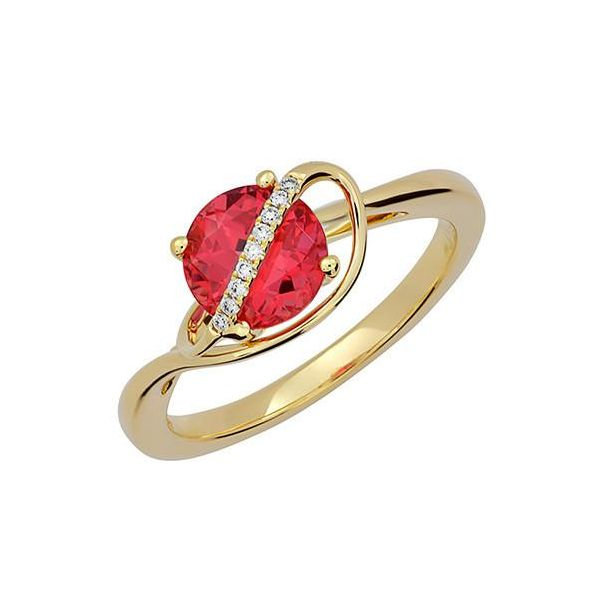 Lab Grown Padparadscha Sapphire Ring with Lab Grown Diamonds by Chatham Wesche Jewelers Melbourne, FL