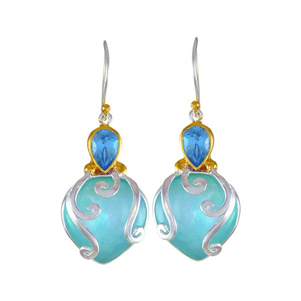 "Mother of Pearl Earrings by Michou - ""Lotus"" Collection Wesche Jewelers Melbourne, FL"