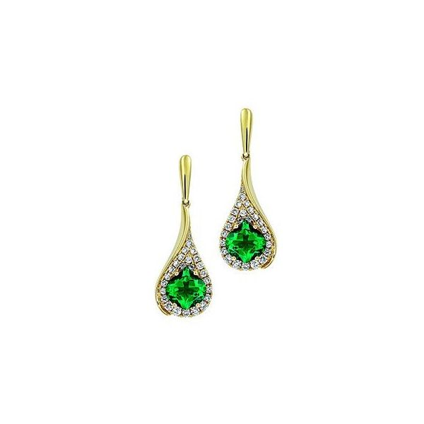 Lab Grown Emerald Earrings with Lab Grown Diamonds by Chatham Wesche Jewelers Melbourne, FL