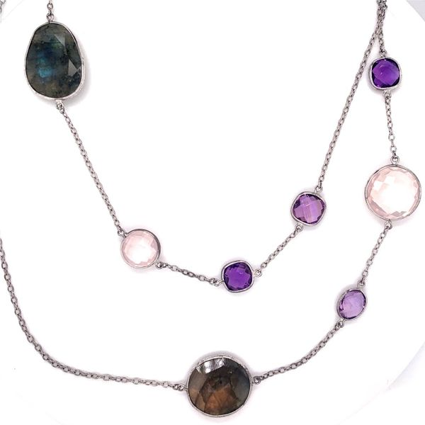 Labradorite with Amethyst and Rose Quartz Necklace Wesche Jewelers Melbourne, FL