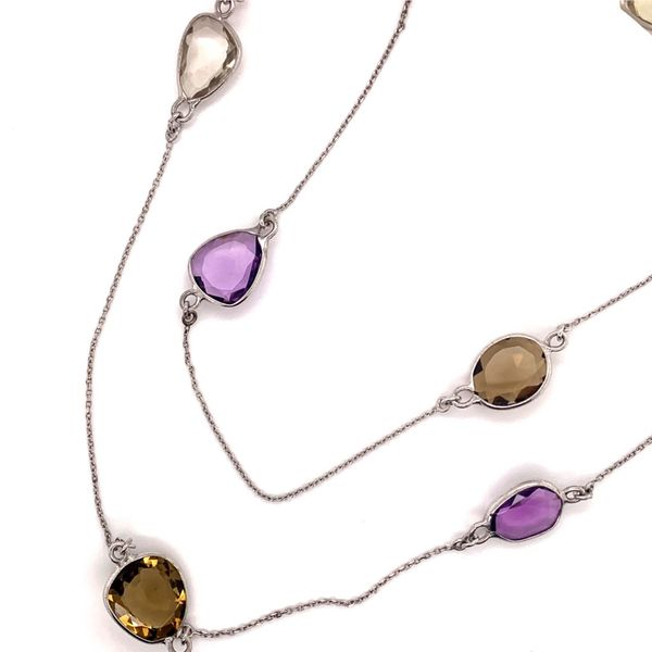 Smoky Quartz, Clear Quartz and Amethyst Necklace by Benjamin Cohen Wesche Jewelers Melbourne, FL