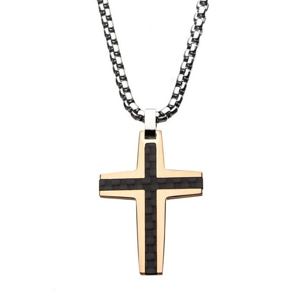 Black and Rose Gold Plated Cross Pendant by INOX Wesche Jewelers Melbourne, FL
