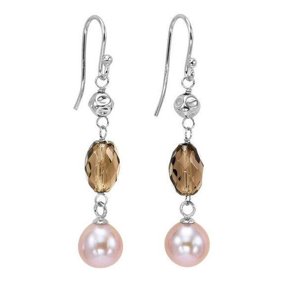 Yangtze River freshwater pearl and smoky quartz earrings Wesche Jewelers Melbourne, FL