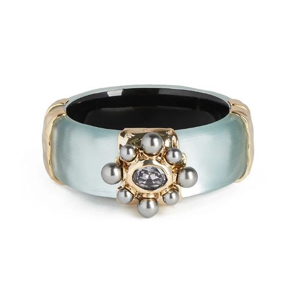 Grey Blue Lucite with Crystal & Freshwater Pearl Bangle Wesche Jewelers Melbourne, FL