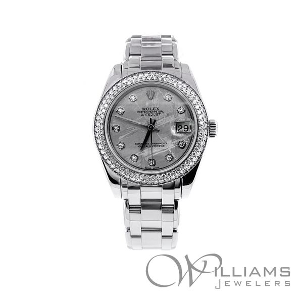 34 MM Pearl-Master, 81339,18 Karat White Gold,2008, Diamond Bezel, Meteorite diamond dial Williams Jewelers Englewood, CO