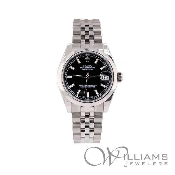 31 MM DATEJUST, 178240, Oyster Steel, 2016, Black Stick Dial. Williams Jewelers Englewood, CO
