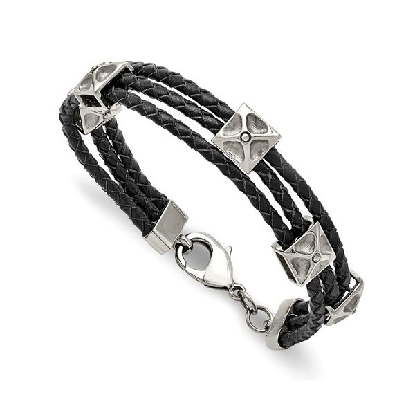 Stainless Steel and Leather Bracelet Young Jewelers Jasper, AL