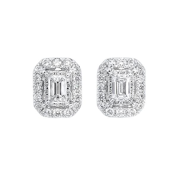 White Gold Emerald Cut Diamond Earrings Your Jewelry Box Altoona, PA