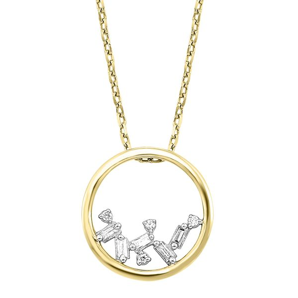 Yellow Gold Diamond Baguette Circle Necklace Your Jewelry Box Altoona, PA