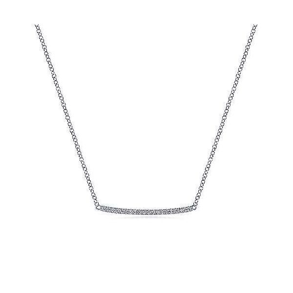 White Gold Diamond Pave Bar Necklace Your Jewelry Box Altoona, PA