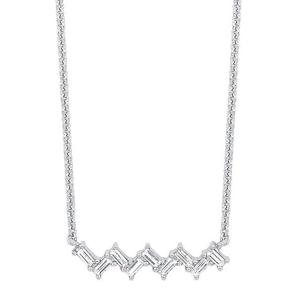 White Gold Diamond Baguette Bar Necklace Your Jewelry Box Altoona, PA