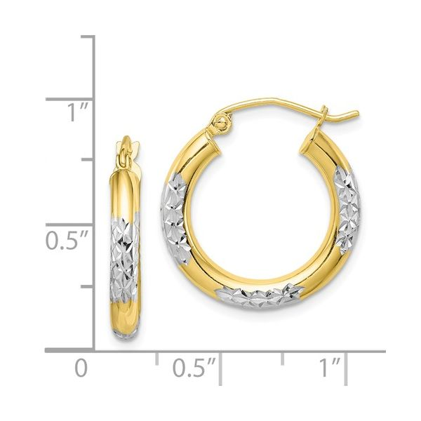 10K Yellow & White Gold 3mm Hoop Earrings Image 2 Your Jewelry Box Altoona, PA