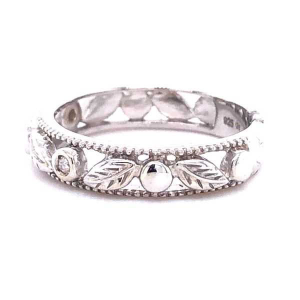 Sterling Silver Diamond Accent Floral Band Image 2 Your Jewelry Box Altoona, PA