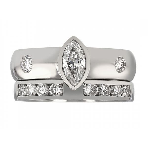 Bezel Marquise Wide Band Weddings Set with Floating Diamonds