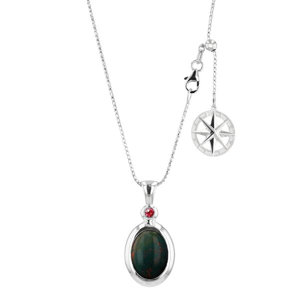 Bloodstone Legacy Pendant with Compass Rose