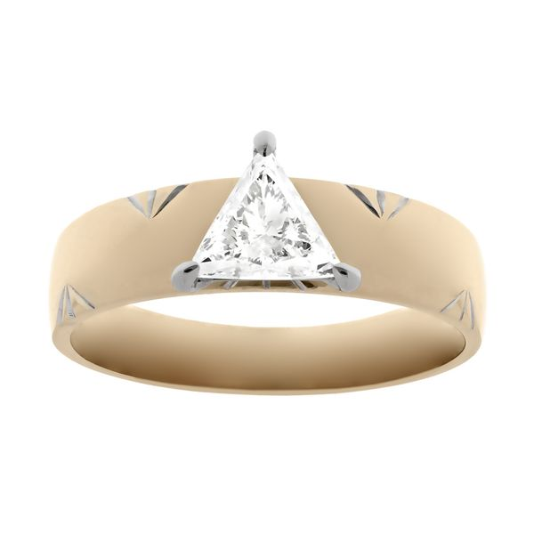 Triangle cut diamond engagement ring with wide band and designer details