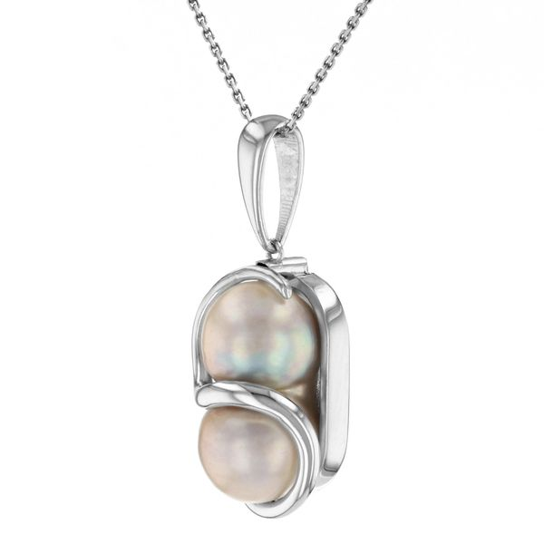 Double pearl pendant entwined with white gold Image 2 Fox Fine Jewelry Ventura, CA
