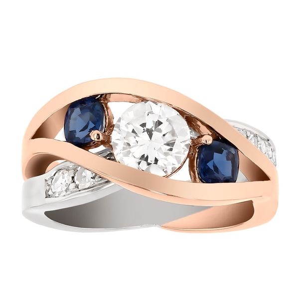 White and Rose Gold Diamond and Sapphire Ring