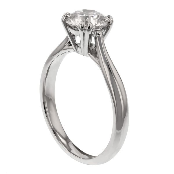 Solitaire Engagement Ring with Double Prongs Image 2 Fox Fine Jewelry Ventura, CA