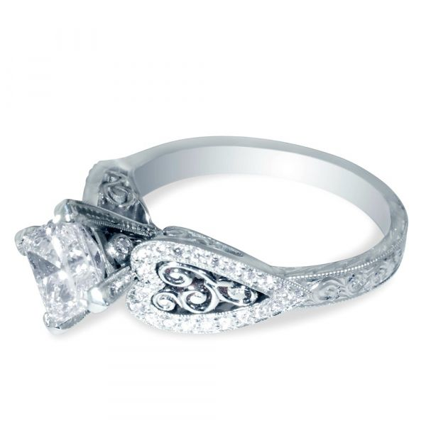 Princess Cut Heart Setting Engagement Ring (Side View)
