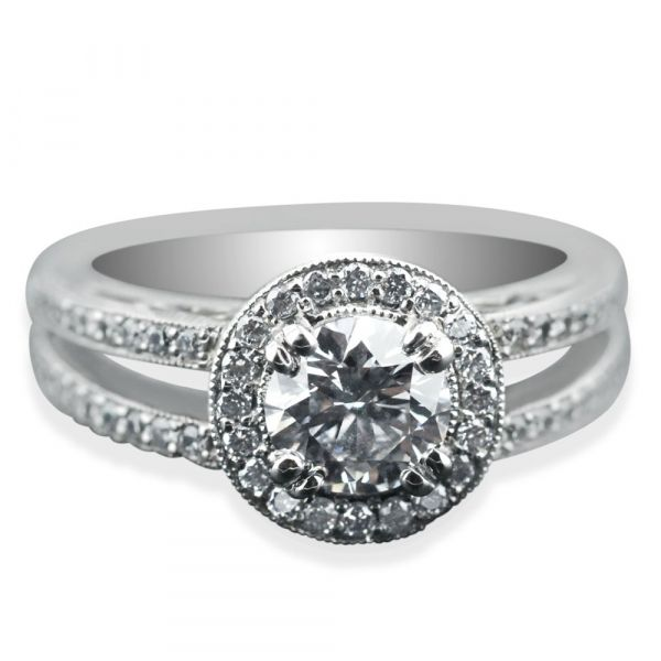 diamond-halo-engagement-ring-with-split-shank-two-bands-front-view