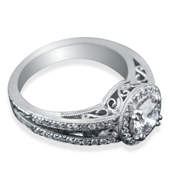 diamond-halo-engagement-ring-with-split-shank-two-bands-side-view