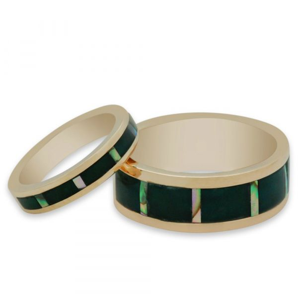 GR101-abalone-and-onyx-his-and-hers-matching-bands-in-yellow-gold