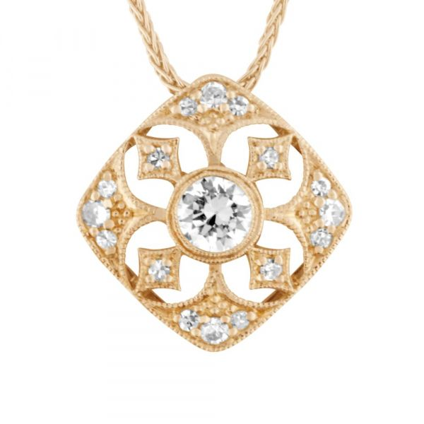 Diamond necklace in star and clover design in gold