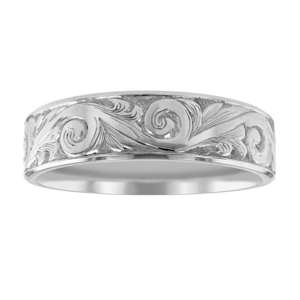 Intricate Scroll Engraved Wedding Band