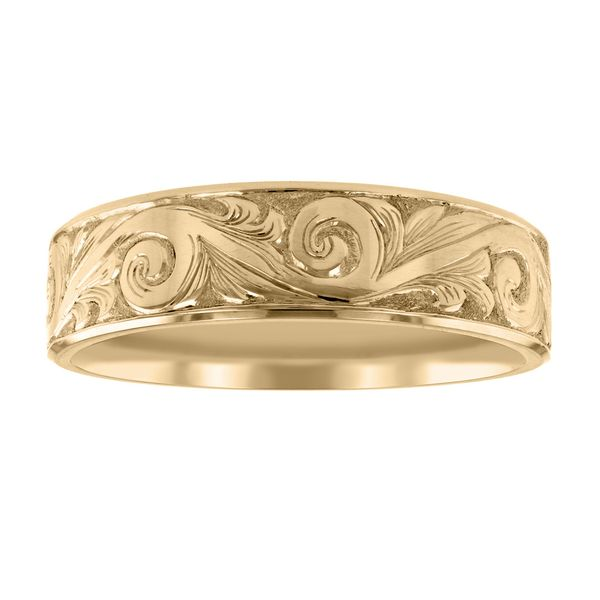 Intricate Scroll Engraved Wedding Band Image 2 Fox Fine Jewelry Ventura, CA